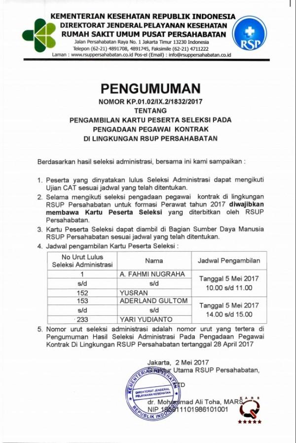 Pengambilan Kartu Peserta Ujian Perawat April 2017